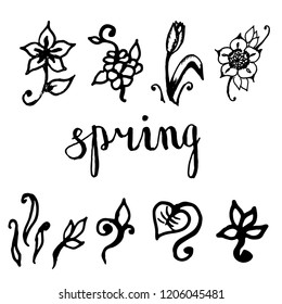 Hand drawn set of floral and plant decorative elements: flower, leaf, grass. Simple doodle sketch style design. Vector illustration for spring, summer themes. All floral elements drawn by brush-pen.
