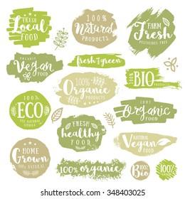 Hand drawn set of Green, eco, organic, vegan, natural, farm, fresh, food, healthy, 100%, bio, labels. Vector restaurant or product package design.