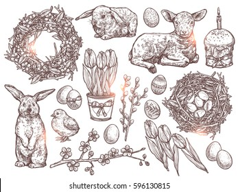 Hand Drawn Set Of Happy Easter Symbols And Signs. Sketch Holiday Bouquet With Tulips, Willows, Apple Blossom Branches, Nest With Eggs, Chicken, Rabbits, Baby Sheep, Easter Eggs, Easter Cake