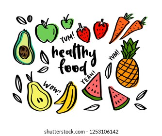 Hand drawn set of healthy food ingredient doodles with lettering in vector, colorful (avocado, apple, carrot, banana)
