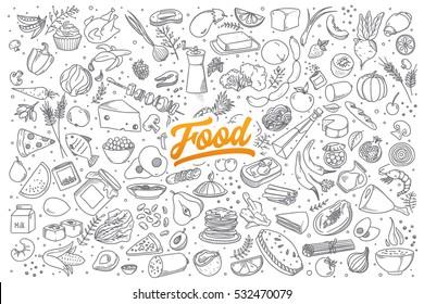 Käsin piirretty joukko terveellisen elintarvikkeen ainesosan doodles kanssa kirjaimin vektori