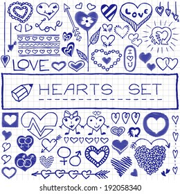 Hand drawn set of hearts and arrows. Vector Illustration.