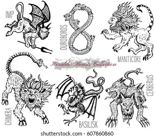 Hand drawn set with heraldic beasts and mythical monsters isolated on white. Graphic vector illustrations. Engraved line art drawing of imp, ouroboros, chimera, basilisk and others.