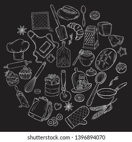 Hand drawn set illustration on blackboard . Vintage pastry, desserts, cakes, wheat, flour fresh bread sketches for bakery shop or cafeteria. Vector graphic, stylized image set graphic element for menu