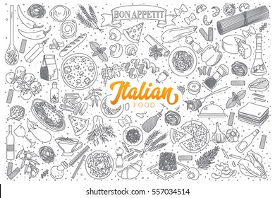 Hand drawn set of Italian food doodles with orange lettering in vector