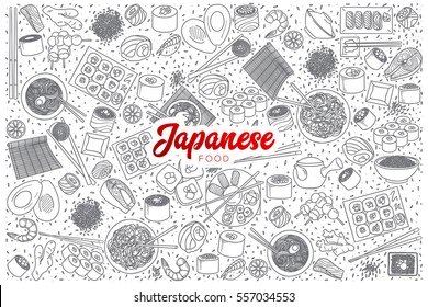Hand drawn set of Japanese food doodles with red lettering in vector