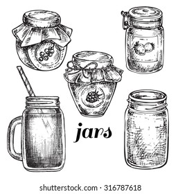 """hand drawn set jars"" for design"