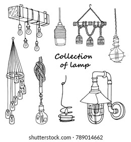 Hand drawn  set of  loft lamps. Collection of vintage chandelier and pendant lamps. Freehand lamps with Edison bulbs. Vector illustration on a white background.