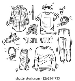 Hand drawn set of men's casual wear sketches: checked shirt, jumper, chino pants, jeans, t-shirt, beanie hat, boots, watches, headphones, belt and coffee in a paper cup. Vector isolated outline