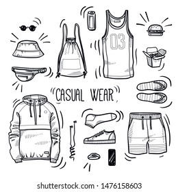 Hand drawn set of men's casual wear sketches: sport tank top, shorts, anorak jacket, shoes, socks, panama hat, backpack, watches, headphones and street food. Vector isolated outline