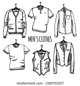 Hand drawn set of men's clothes on hangers: cardigan, shirt with tie, jacket, vest, t-shirt, polo shirt. Vector isolated outline on white background