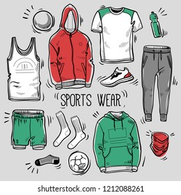 Hand drawn set of men's sportswear sketches: hoodie, sweatshirt, joggers, shorts, t-shirts, tank top, socks, water battle and trainer. Vector colored illustration