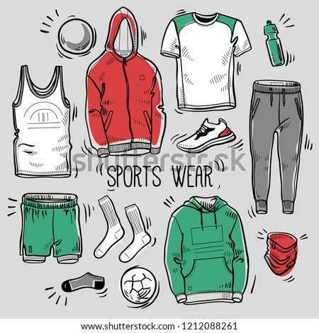 Hand Drawn Set Mens Sportswear Sketches Stock Vector (Royalty Free ... 7652a761a