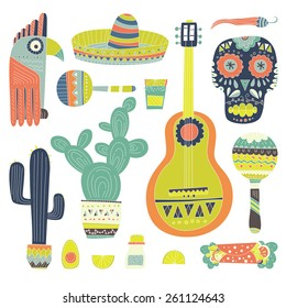 Hand drawn set of mexican symbols - guitar, sombrero, tequila, taco, skull, aztec mask, music instruments. Isolated national elements made in vector. Travel to Mexico icons for cards and web pages.