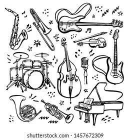 Hand drawn set of music instruments. Ink style vector illustration on white background