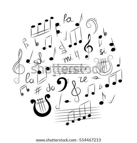 Hand Drawn Set Music Symbols Doodle Stock Vector Royalty Free