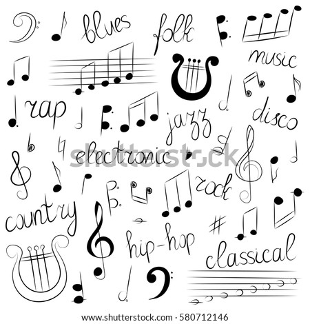 Hand Drawn Set Music Symbols Styles Stock Vector Royalty Free