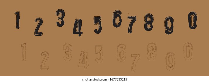 Hand drawn Set of numbers. Vector numbers.0 1, 2, 3, 4, 5, 6, 7, 8, 9, logo design, Symbol set. Vector illustration,Numbers set in vintage style. Vector elements illustration template for web.