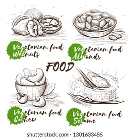 Hand drawn set with nuts. Vegetarian healthy nutrition. Vintage food vector sketch set for restaurant menu. Raw veggie food. Walnuts, almonds, cashew and sesame.
