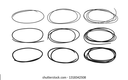 Hand drawn set of objects for design use. Black Vector doodle ellipses on white background.  Abstract pencil drawing. Artistic illustration grunge elements