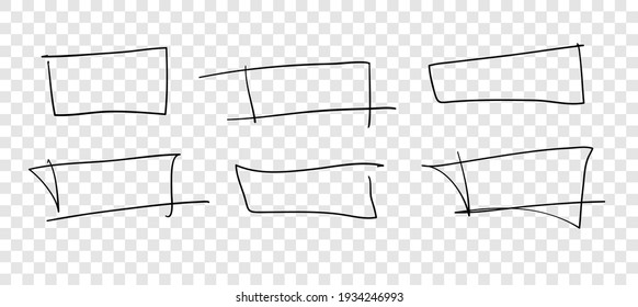 Hand drawn set of objects for design use. Black Vector doodle squares on white background.  Abstract pencil drawing. Artistic illustration grunge elements frames
