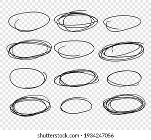 Hand drawn set of objects for design use. Black Vector doodle ellipses on transparent background.  Abstract pencil drawing. Artistic illustration elements