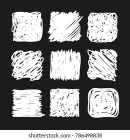 Hand drawn set of objects for design use. White Vector doodle squares on black background.  Abstract pencil drawing. Artistic illustration grunge elements