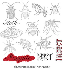 Hand drawn set with pests, bloodsucking insects, mosquito, mite, bug and cockroaches isolated. Doodle line art illustration and graphic sketch, invaders vector with icons