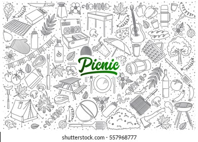 Hand drawn set of picnic doodles with green lettering in vector