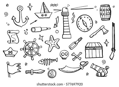 Hand drawn set of pirate and sea elements: ship, coins, bottle, anchor. Vector illustration for cartoon children design. Funny and comic style.