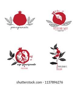 Hand drawn set of pomegranate logo templates