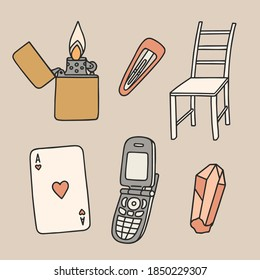 Hand drawn set of random objects. Aesthetic sticker pack. Vector illustrations in retro style.