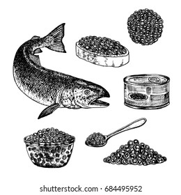 Hand drawn set of red caviar. Retro sketches isolated. Vintage hypster collection. Doodle line graphic design. Black and white drawing fish salmon tin spoon plate sandwich. Vector illustration.