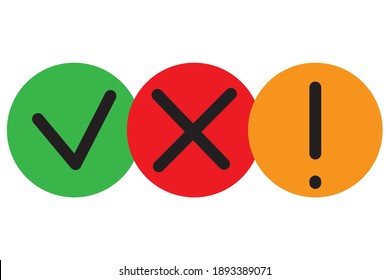 Hand drawn set with red check mark exclamation cross. Website icon symbol. Icon set. Stock image. EPS 10.