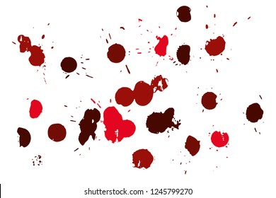 Hand drawn set of red ink spots isolated on white background. Paint splat set ink. Splat drop vector. Blood splash. Paint blob.