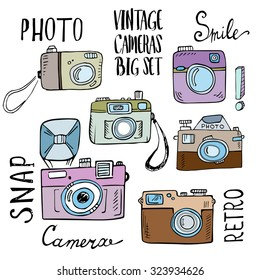 Hand drawn set of retro cameras with lettering.