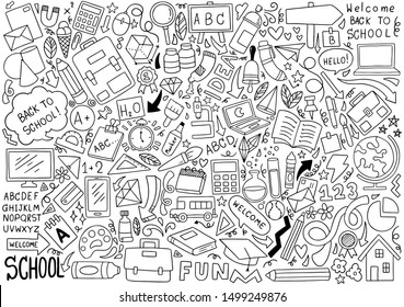 hand drawn Set of school icons Ornaments background pattern Vector illustration