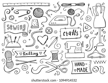 Hand drawn set with sewing and knitting tools and accessories: threads, scissors, needles, metering, button, machine. Vector illustration for tailoring, atelier, fashion design. Doodle sketch style.