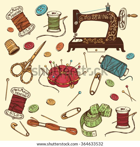 Hand Drawn Set Sewing Tools Spool Stock Vector (Royalty Free ...