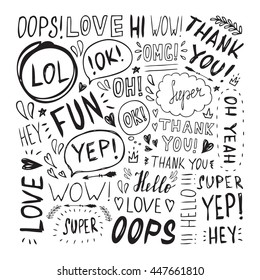 Hand drawn set with short phrases (oh, hi; love, wow, yep, hey, thank you, oops) on white background.Set of hand written lettering words. Handwritten short phrases.