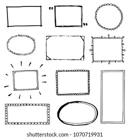 Hand drawn set of simple frame and border with different shapes: heart, square, oval. Cut isolated vector illustration for your banner design. Doodle sketch style. Frame element drawn by brush-pen.
