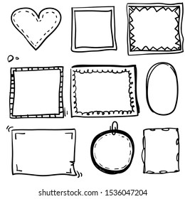Hand drawn set of simple frame and border with different shapes: heart, square, oval. Cut isolated vector illustration for your banner design vector illustration