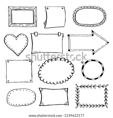 Simple frame design Nice Hand Drawn Set Of Simple Frame And Border With Different Shapes Heart Square Oval Cut Isolated Vector Illustration For Your Banner Design Shutterstock Hand Drawn Set Simple Frame Border Stock Vector royalty Free