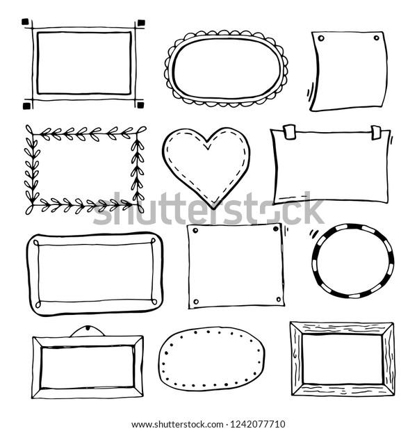 Hand Drawn Set Simple Frame Border Stock Vector Royalty