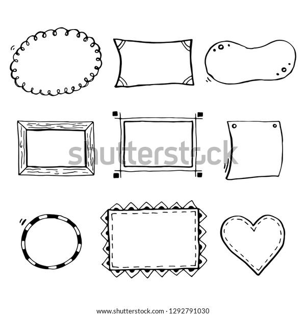 Hand Drawn Set Simple Frame Border Stock Image Download Now