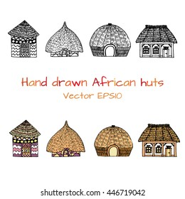 Hand drawn set with sketch of typical African country house with big roofs. Black and white sketch. Front view. Authentic southern house. Vector illustration. Hut with palm roof and geometric pattern
