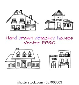 Hand drawn set of sketched  typical country houses. Front view. Typical US house, spanish villa, swiss chalet, mexican house. Vector illustration.Vector stock illustration.