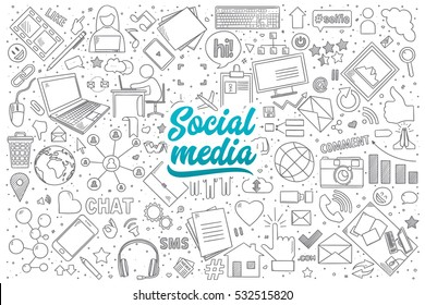 Hand drawn set of social media doodles with blue lettering in vector