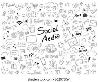 Hand drawn set of social media elements.