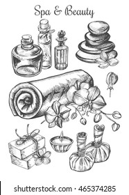 Hand drawn set of spa attributes. Template for design of Spa and beauty salon, Wellness center. Vector illustration.